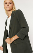 Oasis Rushed Sleeve Open Front Cupro Jacket In Khaki Size 8-10-12-14-16-18