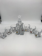Bohemian Crystal Twisted Glass Decanter With 6 - Whisky Glasses