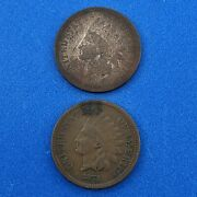 1873 P Indian Head One Cent Penny Type 3 Bronze Open/ Closed 3 Two Coin Lot