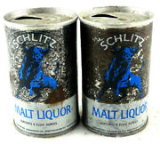 Qty. 2 - Schlitz Malt Liquor Beer Can Steel Top Opened 8 Oz. Pre-owned Free Ship