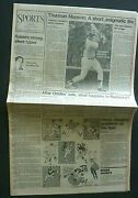 Lot Of 2 Thurman Munson Dies Yankees 1979 Vintage Newspaper Full Sports Sections