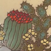 Cleo Teissedre 5 7/8 Cactus Hand Painted Ceramic Tile Trivet Wall Art Coaster