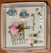 Vintage Rare Collectible 7pc Comb Claw Clips Hair Set Roses Wedding Dressy Gift