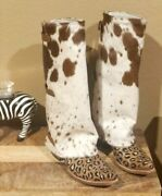 Cowhide Boot Covers Leather Long Shoe Boots Covers Cowboy Western Covers Style