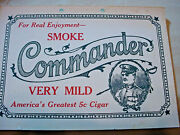 Commander Very Mild 5 Cent Cigar Cardboard Sign 8.5 X 6 1930and039s 2 Sided