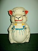 Vintage 40and039s American Bisque Abco Pottery Lamb Sheep Cookie Jar