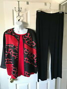 Chicos Travelers Crushed Abstract Jacket Tank Top Pants Chinese Red Black Size 3