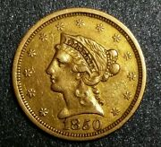 1850-p Liberty Head Gold 2.50 Rare Early Mexican - American War Period Coin