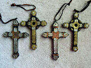 Rustic Hand Made Folk Art Wood And Metal Cross Christmas Ornaments Copper Brass