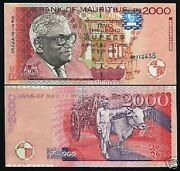 Mauritius 2000 2000 Rupees P-55 1999 Ramgolam Ox Rare Date Unc Currency Note