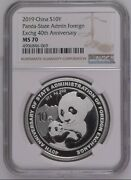 Ngc Ms70 2019 China 40th Anni Stage Foreign Exchange 30g Panda Silver Coin Coa