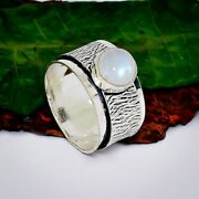 Sparkling Rainbow Moonstone Gemstone 925 Sterling Silver Spinner Ring