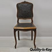 Antique French Louis Xv Style Brown Embossed Leather Walnut Dining Side Chair C