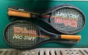 2 Vtg Wilson Pro Staff Tennis Racquet St Vincent L4 And China L3 + 2 Dif. Cover