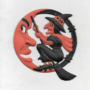Vintage Halloween Germany Die Cut Decoration Witch And Moon