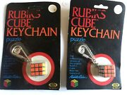 2 Vintage The Original Rubik's Cube Keychain Puzzle Factory Sealed 1982 Ideal