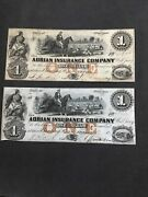 Obsolete Banknotes 2 Issued By Adrian Insurance Company Michigan Usa 1