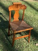 C.1825 Federal American Antique Tiger Maple Furniture Chair Cane Rush Seat