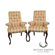 Queen Anne Style Vintage Custom Quality Pair Host Arm Chairs