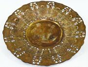 Egypt Antique Museum Collectible Coper Gold Silver Inlaid Brass Plate. G26-39 Uk