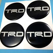 4x Gray Reflect Resin Wheel Center Caps Stickers For Trd 50 Mm Logo Decor Decal