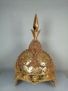 14.4'' China Antique Bronze Hat Ancient Old Brass Hat Gild Official Hat