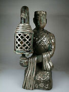15.2and039and039 China Antique Bronze Candlestick Ancient Old Brass Wax Platform