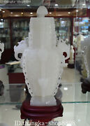 14china Dynasty White Jade Hand Carving Dragon Knob Sheep Respect Bottle Statue