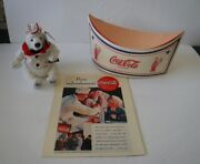 Vtg Coca Cola Plush Serving Jacket 0274 And Paper Soda Jerk Hat Fountain Picture