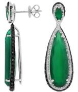 Large 1.25ct White And Black Diamond And Aaa Green Agate 14kt White Gold 3d Earrings