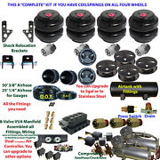 Air Suspension Kit 3/8 Manifold Shock Relocater 1992-96 Chevy Impala Ss 5 Gal