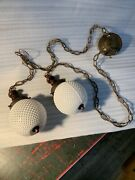 Vintage Double Swag Pendant Lights White Bubble Glass Hanging Mcm Hardwire Wood