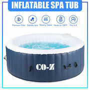 6'x6' Inflatable Hot Tub Portable Jacuzzi With 120 Jets And Air Pump Ideal For 4