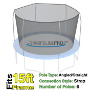 15and039 Round Trampoline Safety Net For 6 Angled / Straight Pole Enclosure Systems
