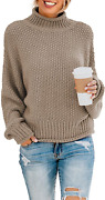 Blencot Women Chunky Long Sleeve Jumper Solid Color Oversized Sweater Cable Knit