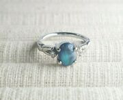 Ladies Opal Ring 18ct White Gold Blue Green Opal With Diamonds Preloved Val1450
