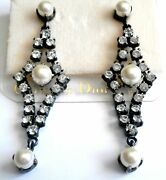 Christian Dior Signed Gunmetal Plated Earrings Crystals And Pearl 14 Kt Gold Posts