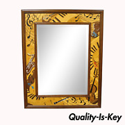 Hudson River Inlay Marquetry Inlaid Jammin Large Border Beveled Glass Mirror