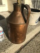 Copper Metal Handled Milk Jug/can Made Into Lamp Marked Boston