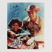 Chuck Connors Signed Photo 8x10 W/ Johnny Crawford - Coa Jsa