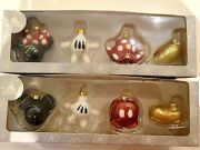 Disney Parks Set Of 8 Minnie And Mickey Mouse Body Parts Glass Christmas Ornaments