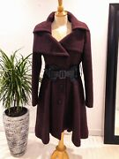 Mackage Long Wool Trench Coat Size M Medium With Leather Belt Maroon Burgundy
