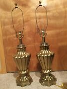 Pair Of 1970's Vintage Italian Ethan Allen Solid Brass Lamps