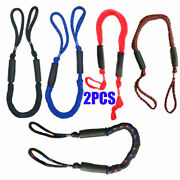 2pcs 3.5-5.5 Ft Bungee Dock Line Mooring Stretch Rope For Boat Blue Red Black Us