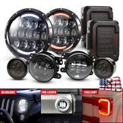 7 Led Halo Headlights Andfog Lamp Andturn Signal Andtail Lights For Jeep Jk 2007-2017