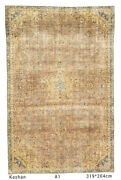 Over Washed Antique Vintage Distressed Wool Handknotted Brown Blue Rug 204x319cm