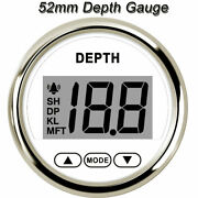 Waterproof 2and039and039 52mm Digital Depth Gauge For Car Marine Boat Yacht Led Light