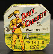 Vintage 1960and039s Tin Davey Crockett Frontier Dime Bank