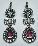 Antique 19th Century Silver And 14k Gold Earrings With Rubies And 0.75ct In Diamonds