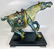Antique 1920s Chinese Cloisonne Enamel On Bronze Horse Censer With Wood Stand